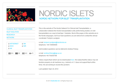 Nordic Islets: Web portal for the Nordic Network For Clinical Islet Transplantation