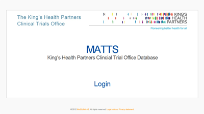 MATTS: King's Health Partners Clinical Trial Office Database