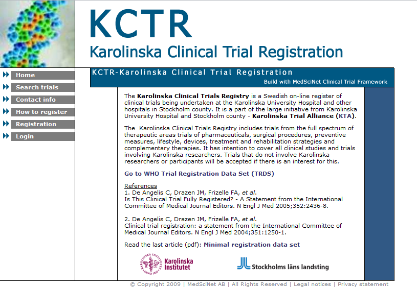 KCTR: Registry of clinical trials in Stockholm county
