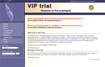 VIP: Multicentre randomised trial of vitamins in pre-eclampsia